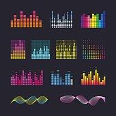 Set colorful ui ux music equalizer sound waves.