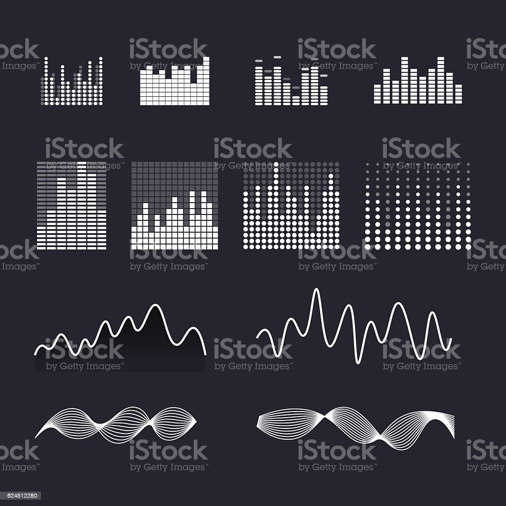 Set colorful ui ux music equalizer sound waves. vector art illustration