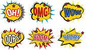 Set comic stickers, retro style. Set comic stickers icons isolated