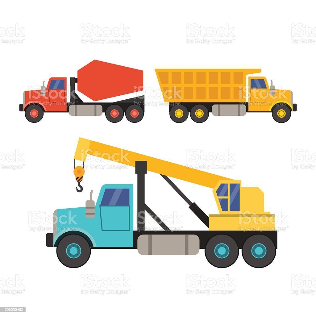 set construction equipment in flat style. crane truck concrete mixer vector art illustration