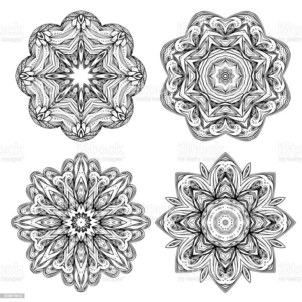Set contour heathen round mandalas. Stained glass elements. vector art illustration