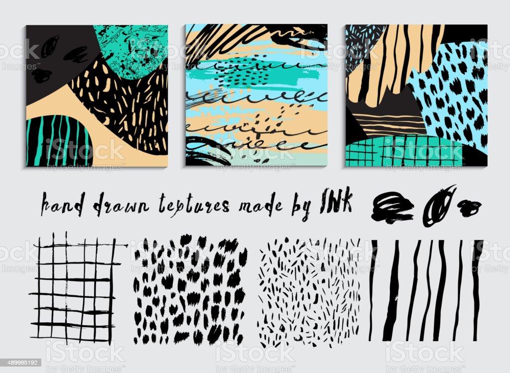 Set creative cards plus Hand Drawn textures vector art illustration