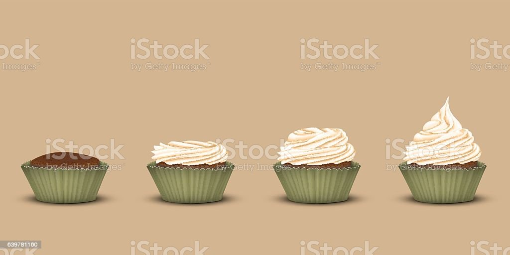 Set cupcakes with a different amount of cream vector art illustration