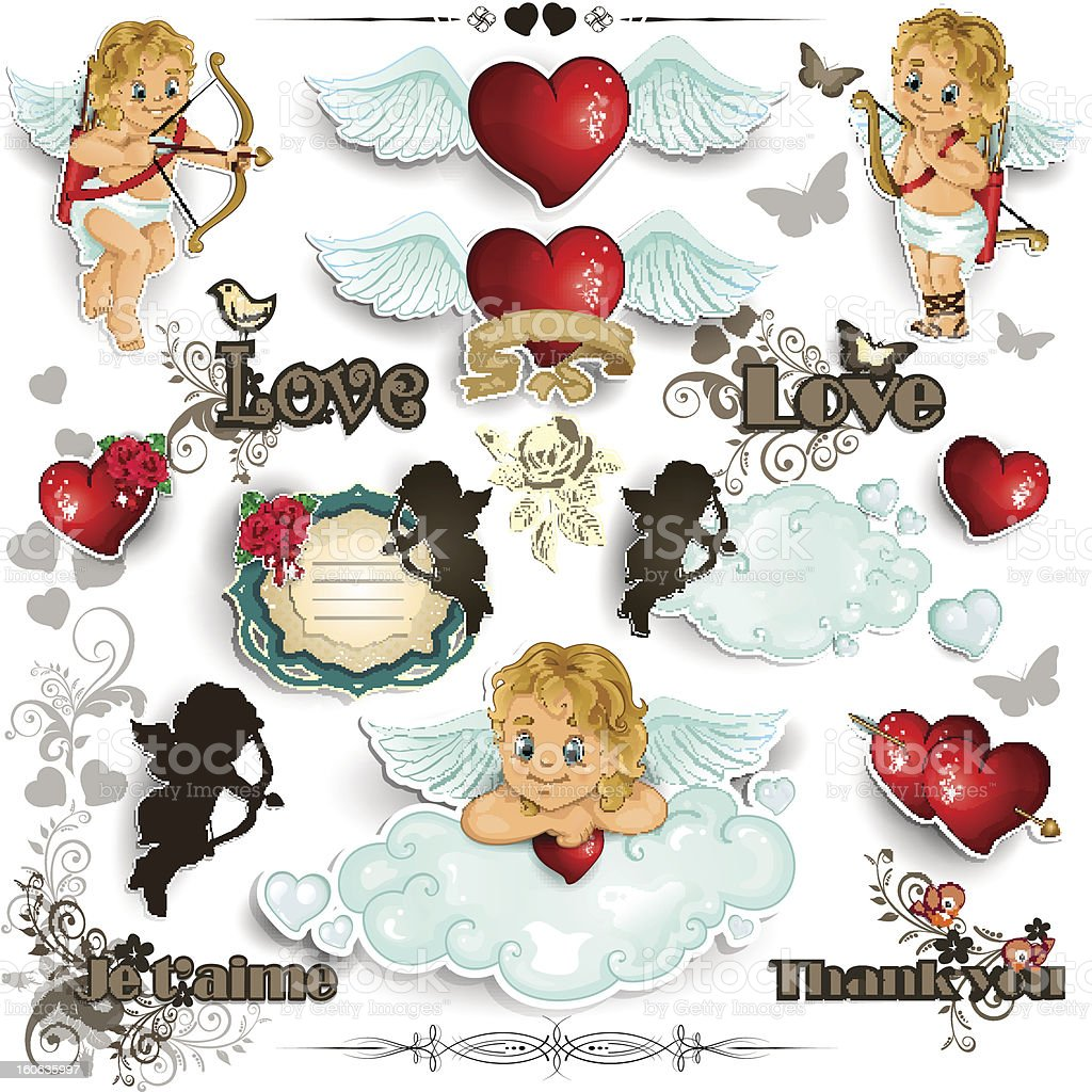 Set Cupid and love white background royalty-free stock vector art