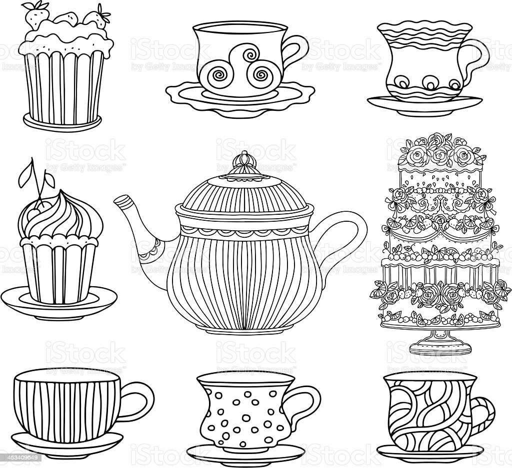 Set cups, cakes and kettle vector art illustration