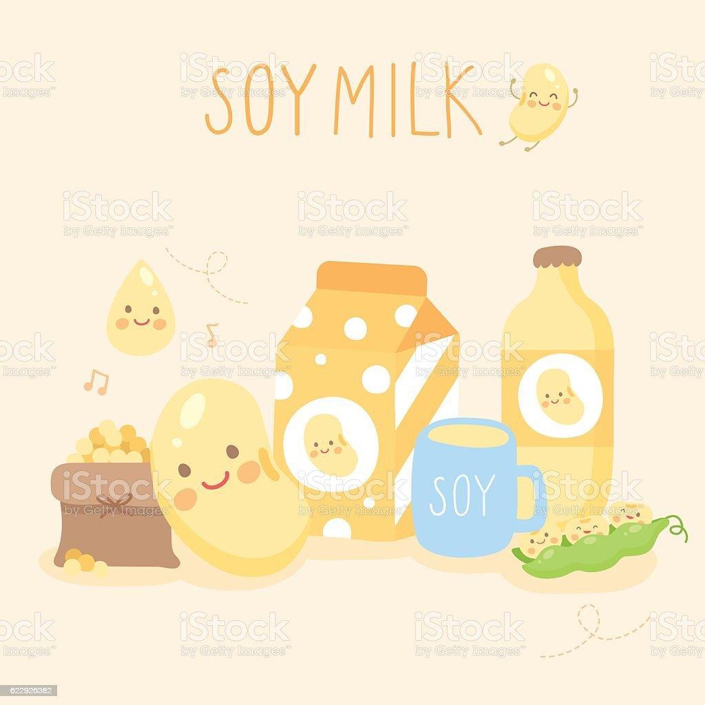 set cut soy milk vector art illustration