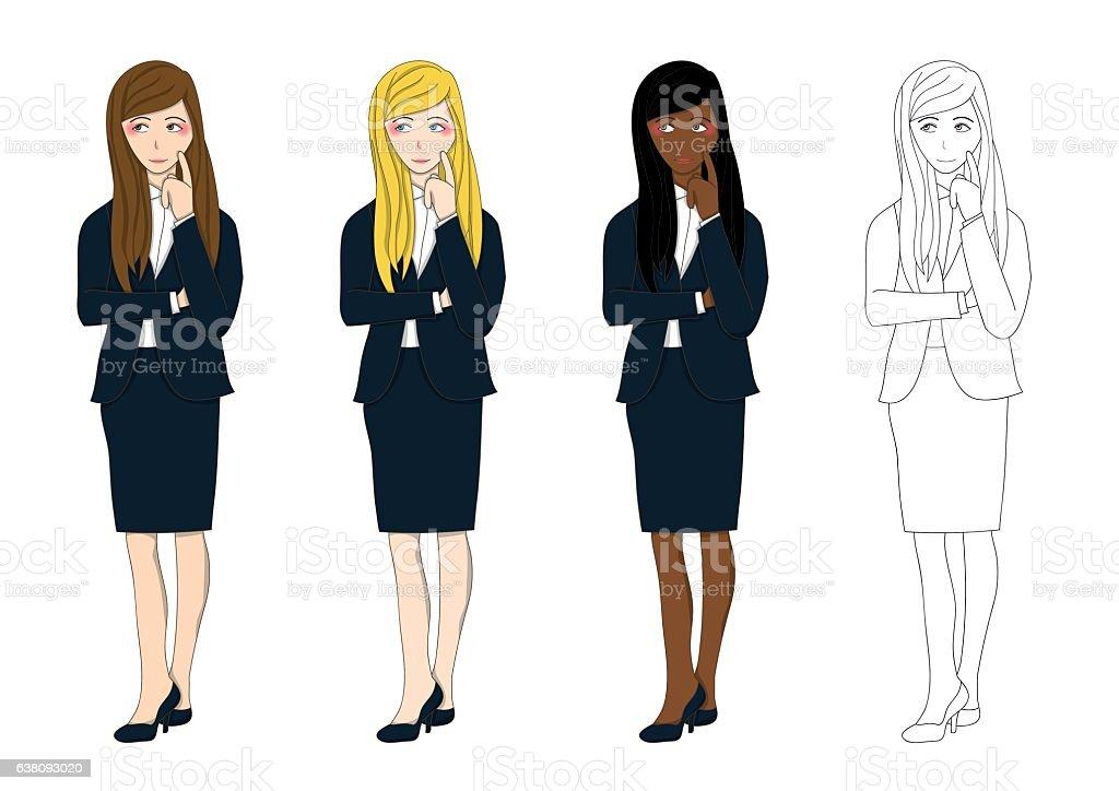 Set Cute Business Woman Thinking to Make Deciscion. vector art illustration