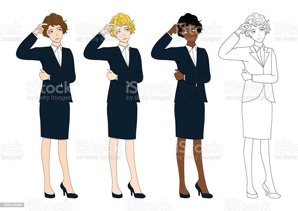 Set Cute Business Woman Thinking to Make Decision. vector art illustration
