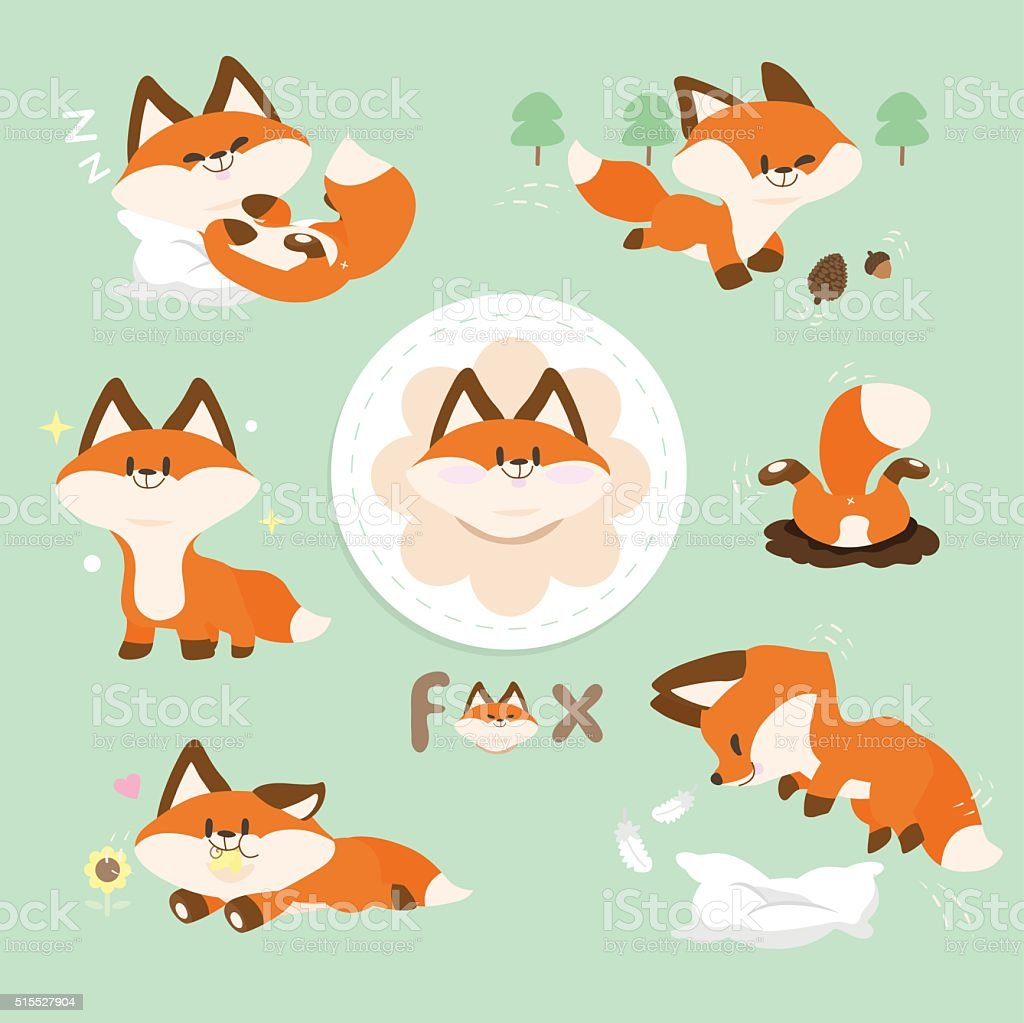 Set Cute Red Fox vector art illustration