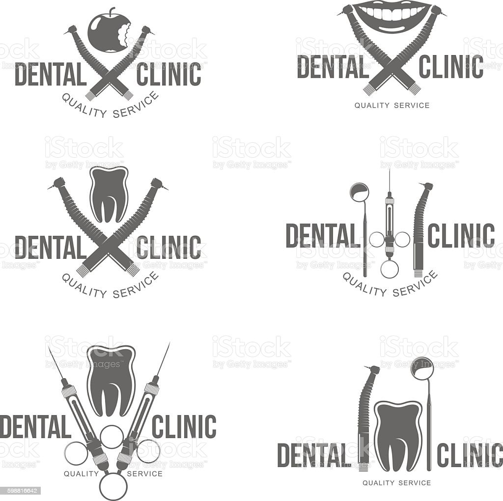set dental logo vector art illustration