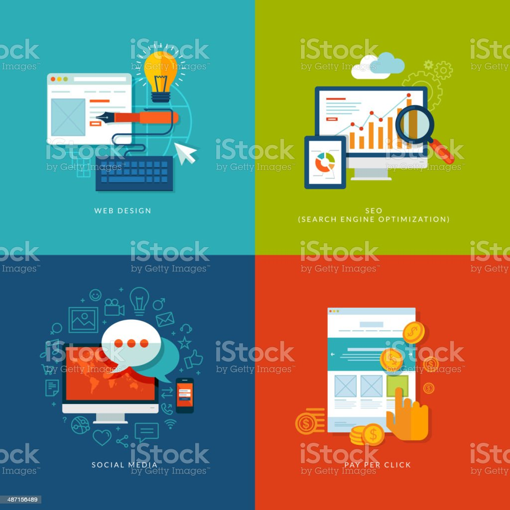 Set design and marketing of flat design concept icons for web vector art illustration