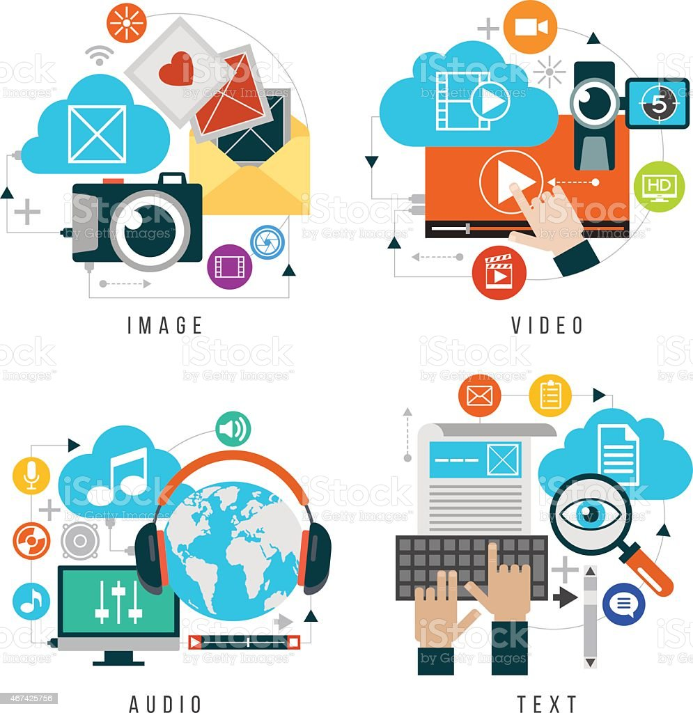 Set design of multimedia for web services and applications vector art illustration