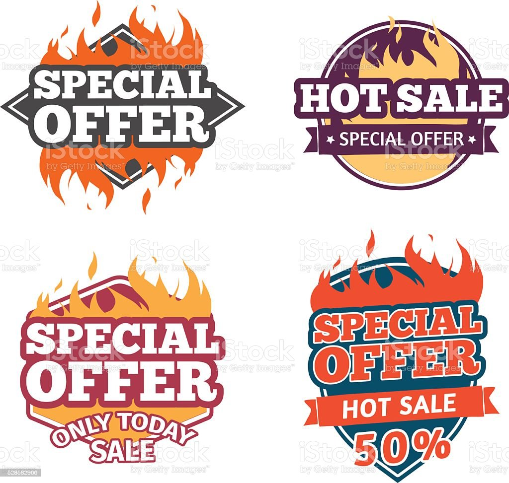 Set design price tag. Badges with special offers, hot sale. vector art illustration