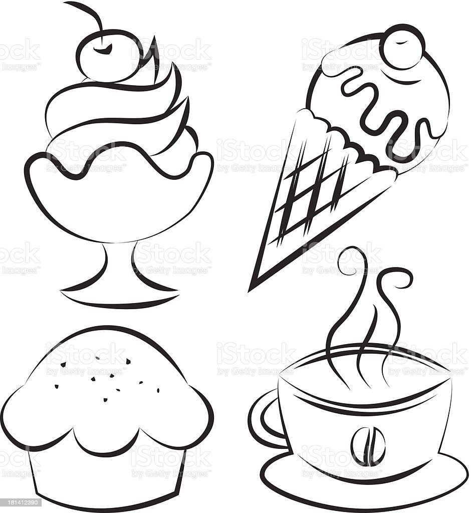 Set. Desserts and coffee. Vector illustration royalty-free stock vector art