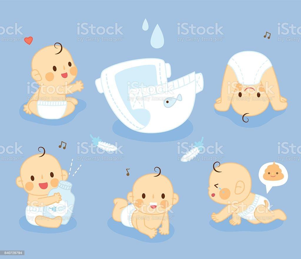 set Diaper Baby vector art illustration