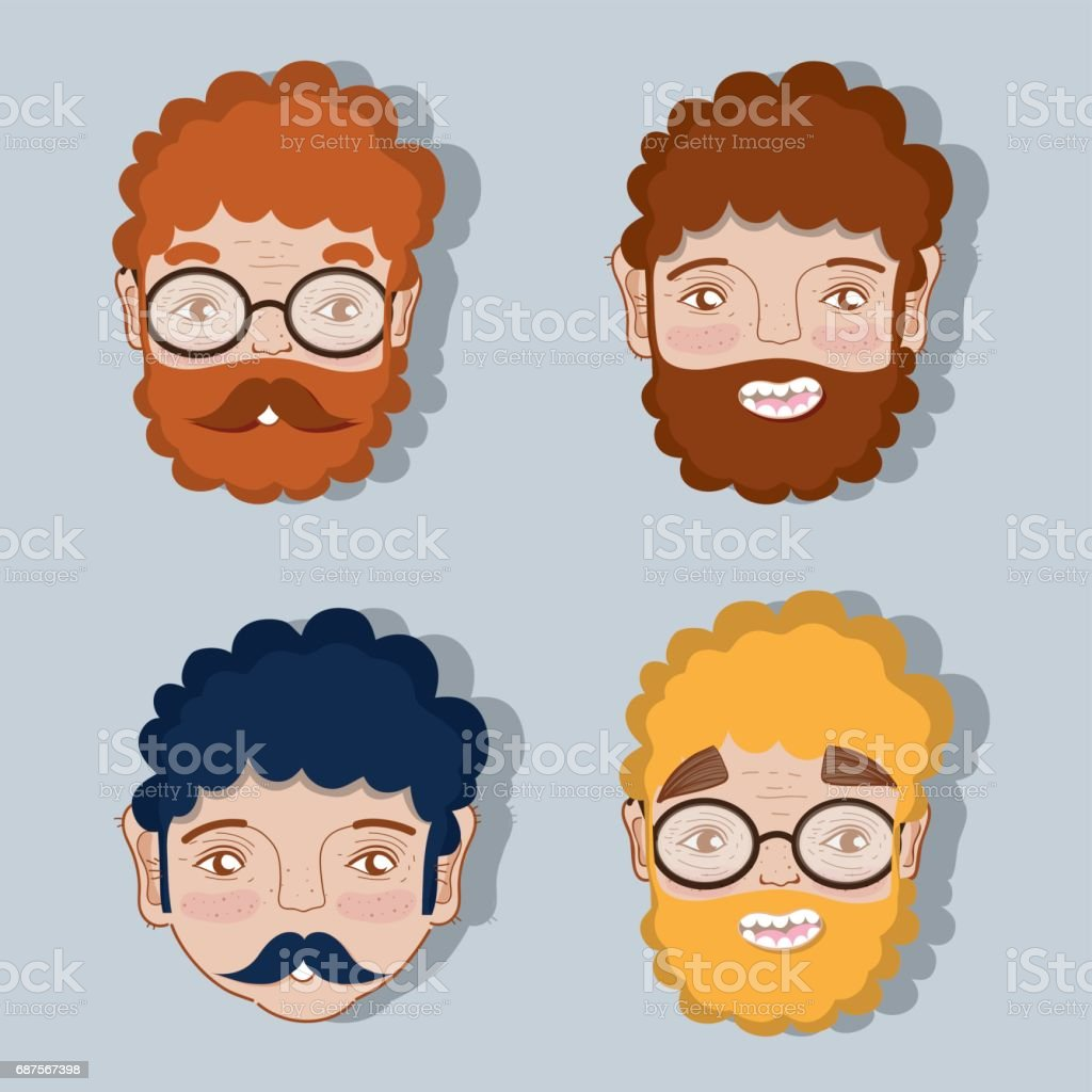 set different faces of fathers expression vector art illustration