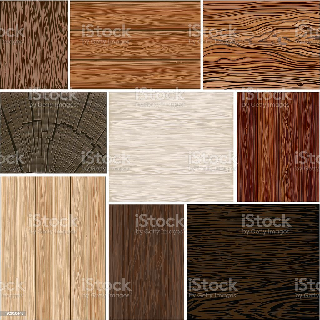Set  different wood textures . seamless.  backgrounds. Brown white beige. boards. vector art illustration