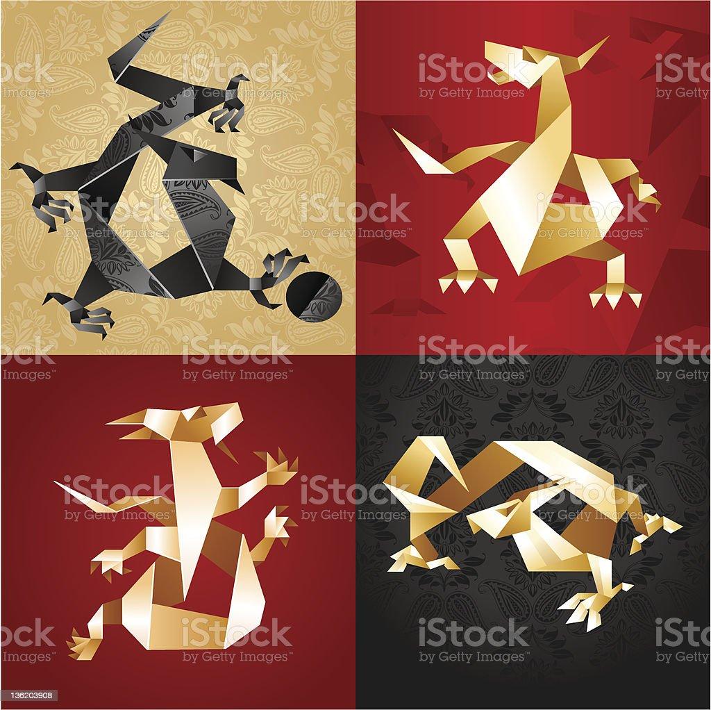 Set Dragons Origami vector art illustration