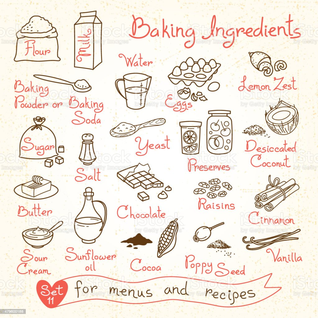 Set drawings of baking ingredients for design menus, recipes vector art illustration