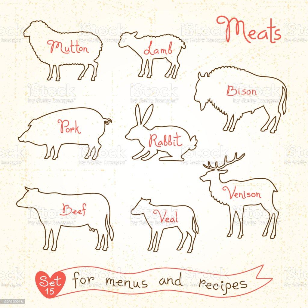 Set drawings of meat symbols, beef, pork, lamb, mutton, rabbit vector art illustration