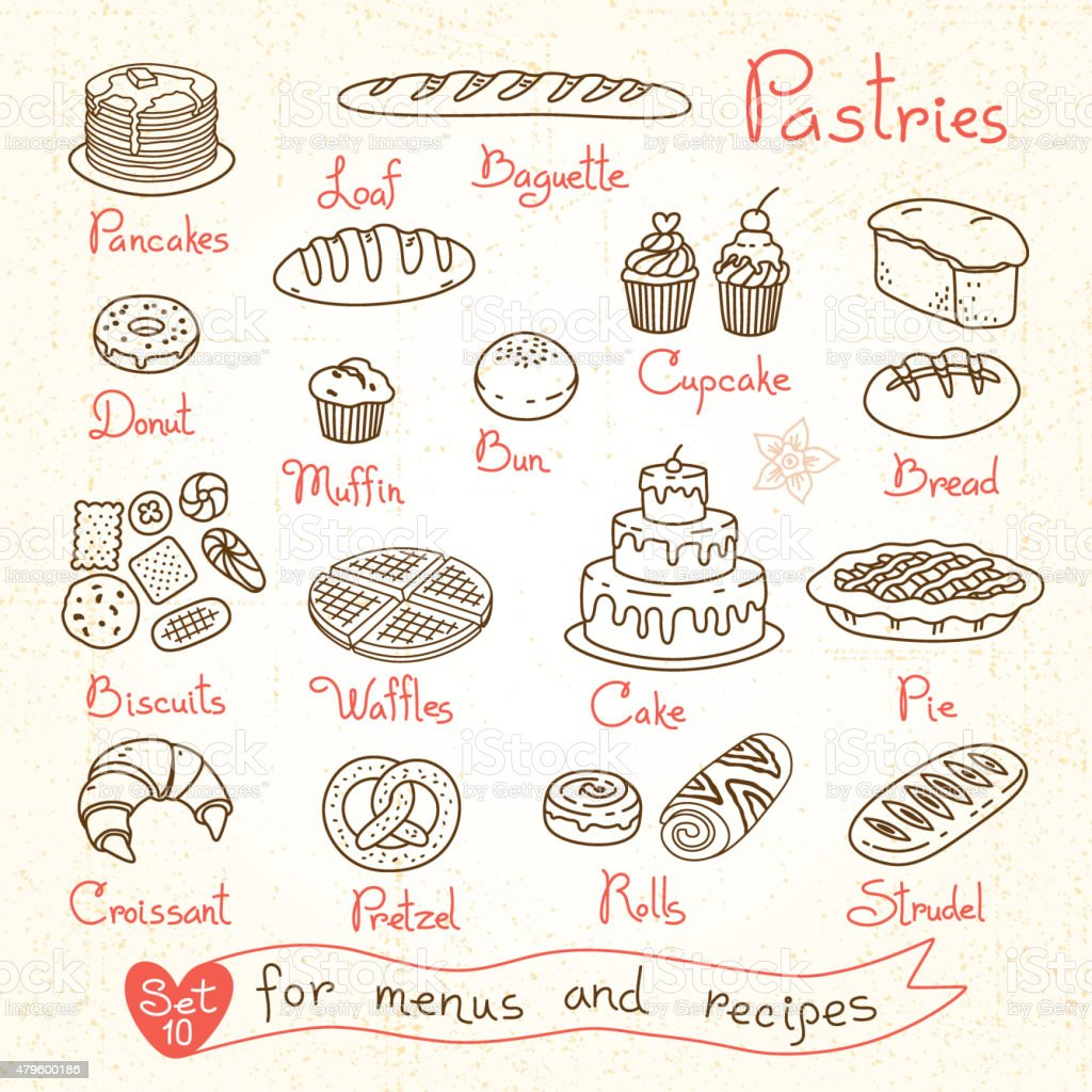 Set drawings of pastries and bread for design menus, recipes vector art illustration