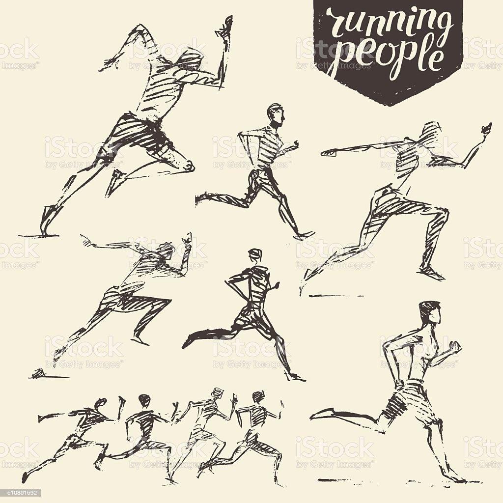 Set drawn running man healthy vector sketch vector art illustration