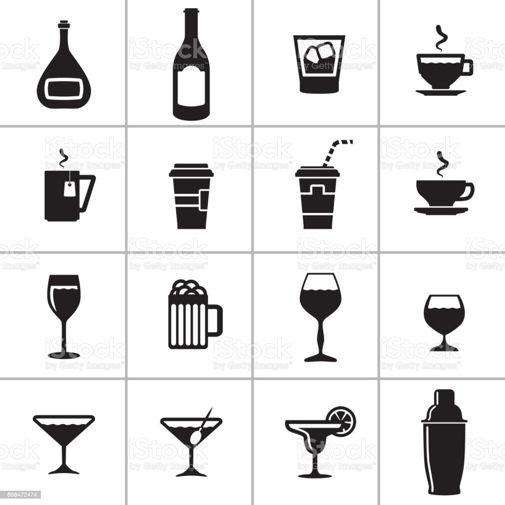 Set Drinks Containers vector art illustration