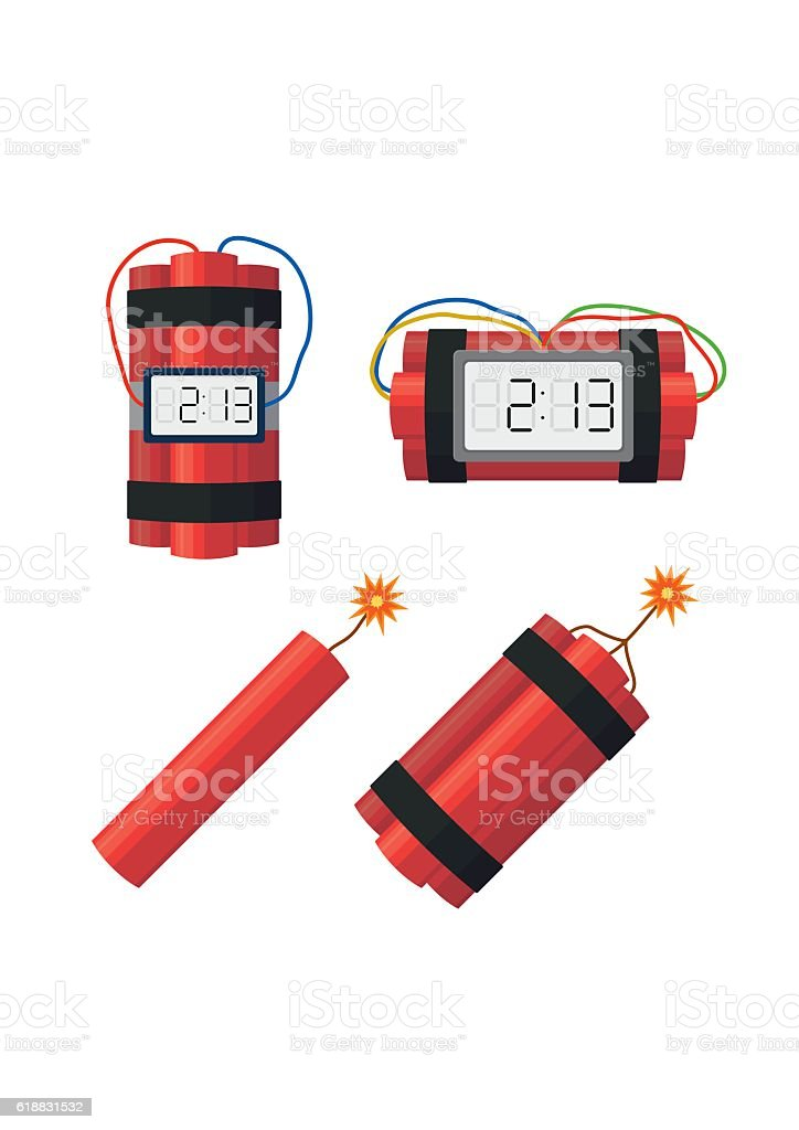 Set dynamite bombs explosion with timer detonate, wire, burning wick. vector art illustration