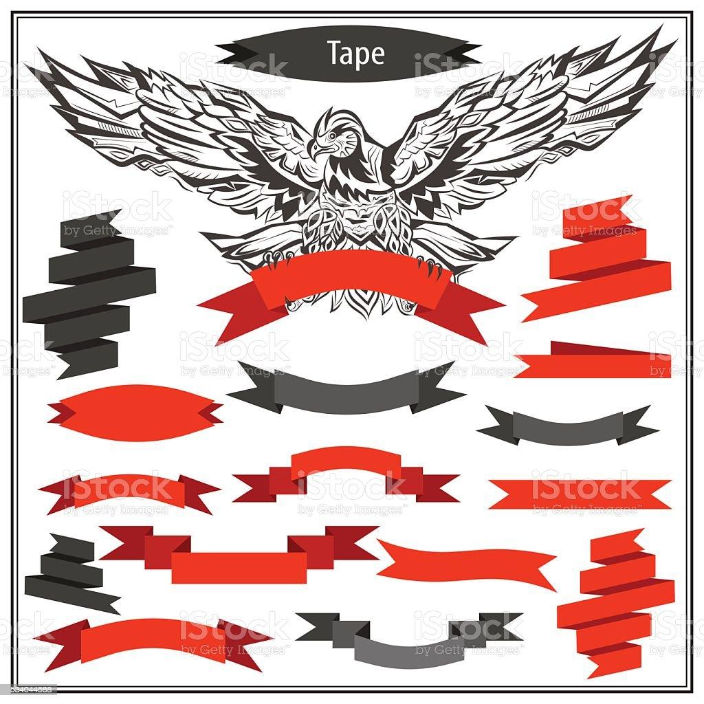 Set eagle ribbons in black and red color vector art illustration
