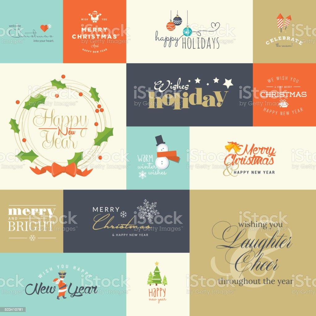 Conjunto de elementos para Navidad y Año Nuevo, tarjetas de felicitación illustracion libre de derechos libre de derechos