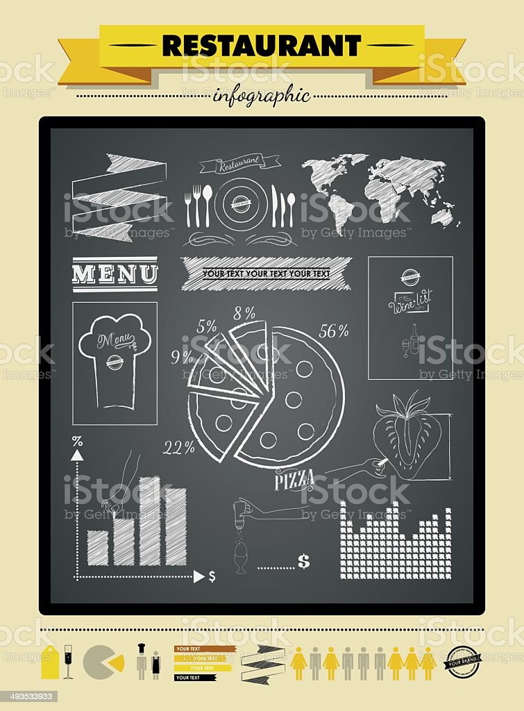 Set elements of infographics for restaurant vector art illustration