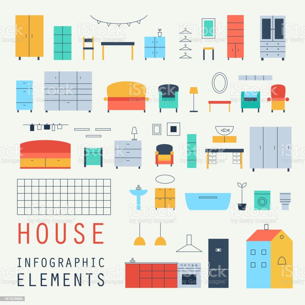 Set elements of infographics. House design. Furniture. Vector. vector art illustration