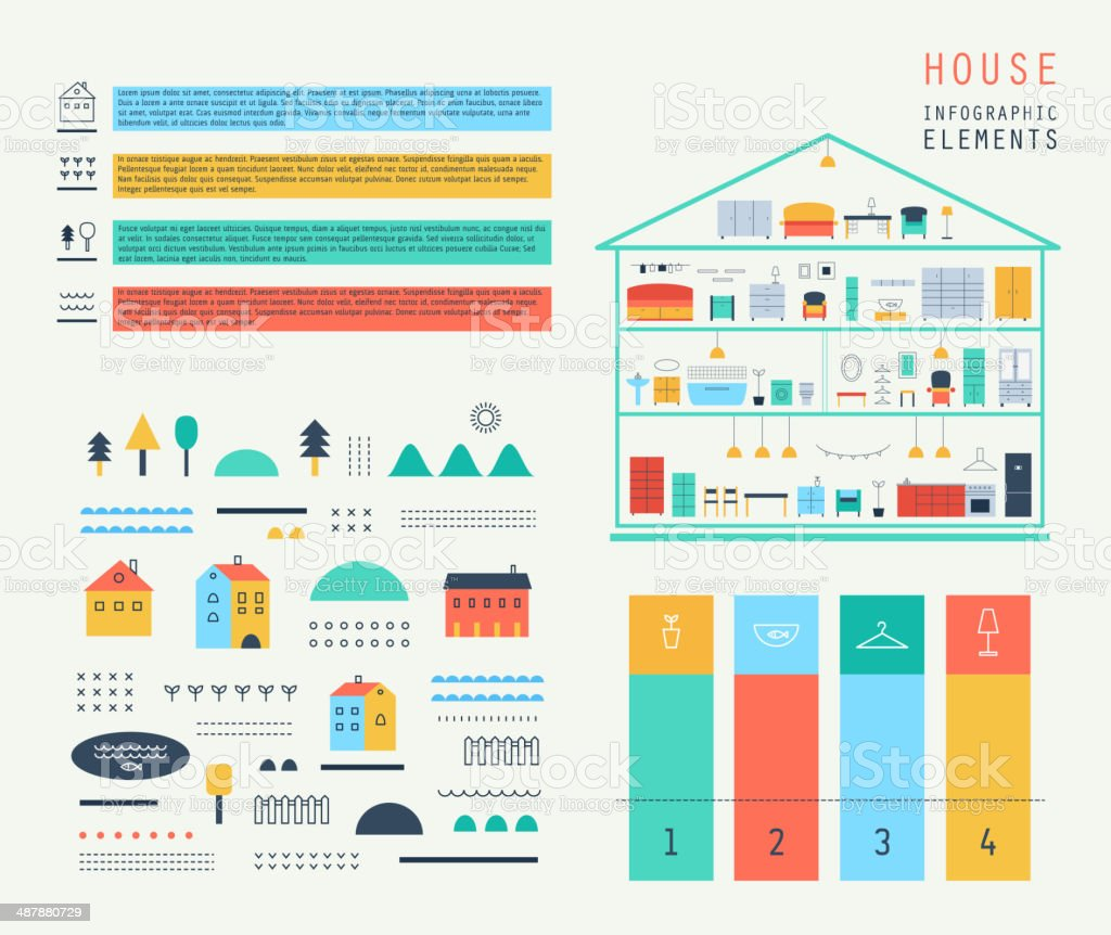 Set elements of infographics.Eco structure. House design. Furniture. Vector. vector art illustration