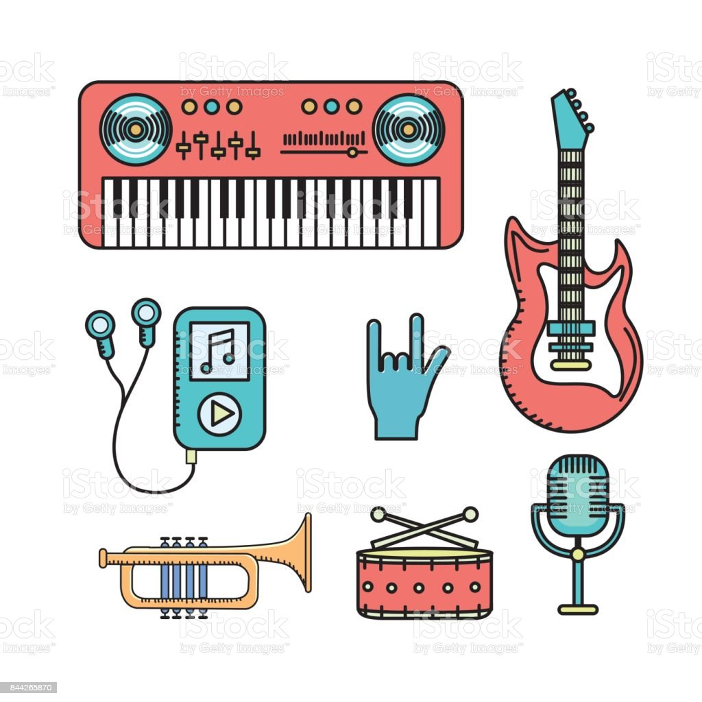 set elements to listen and play music vector art illustration
