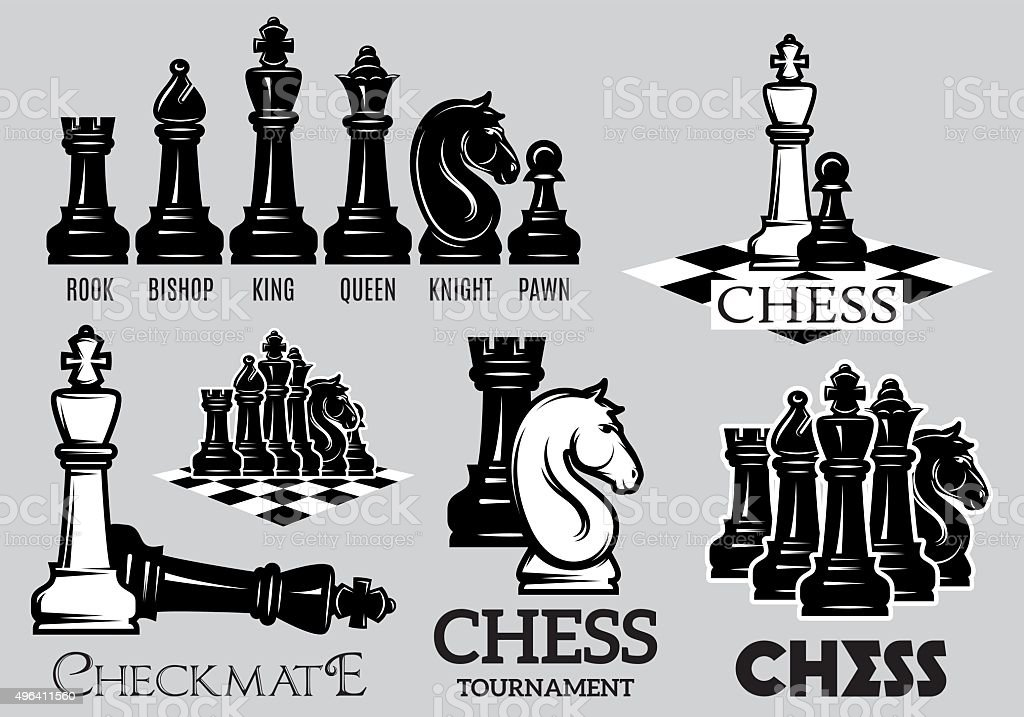 Set emblems and signs for the chess tournament vector art illustration