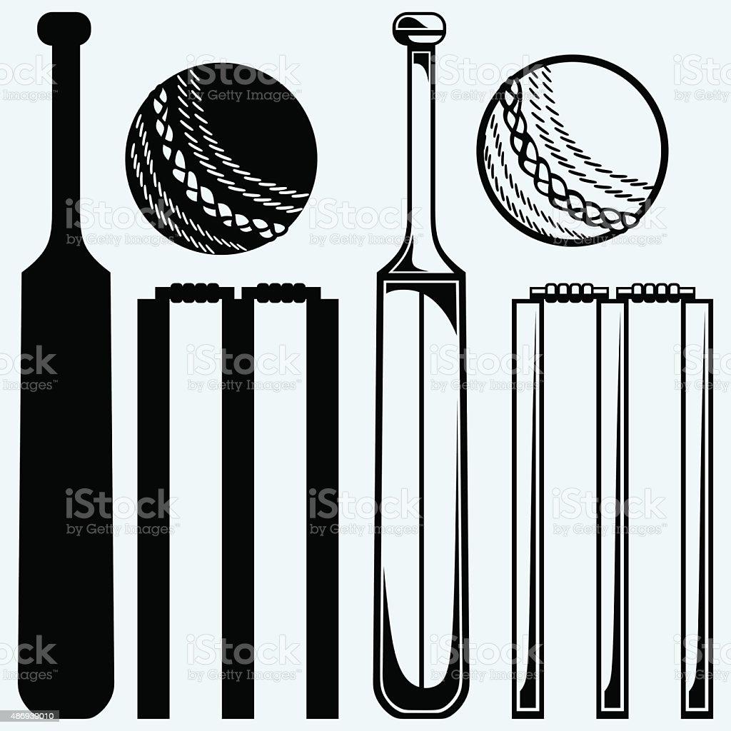 Set equipment for cricket vector art illustration