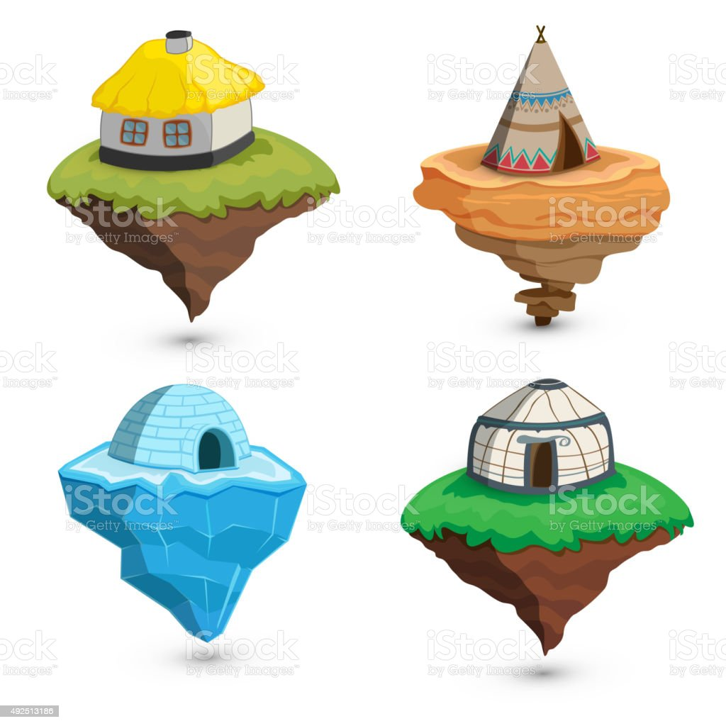 Set ethnic dwellings. vector art illustration