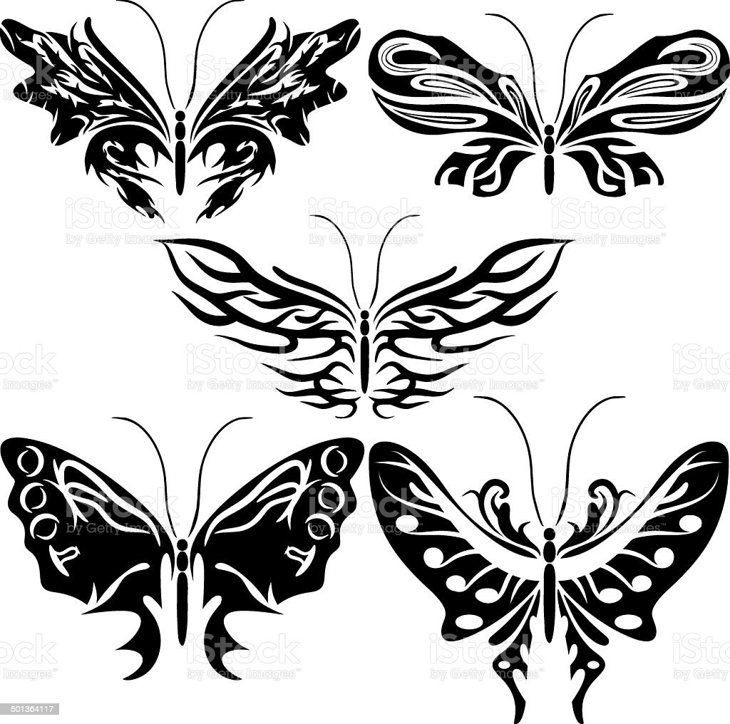 Set, exotic butterfly. royalty-free stock vector art