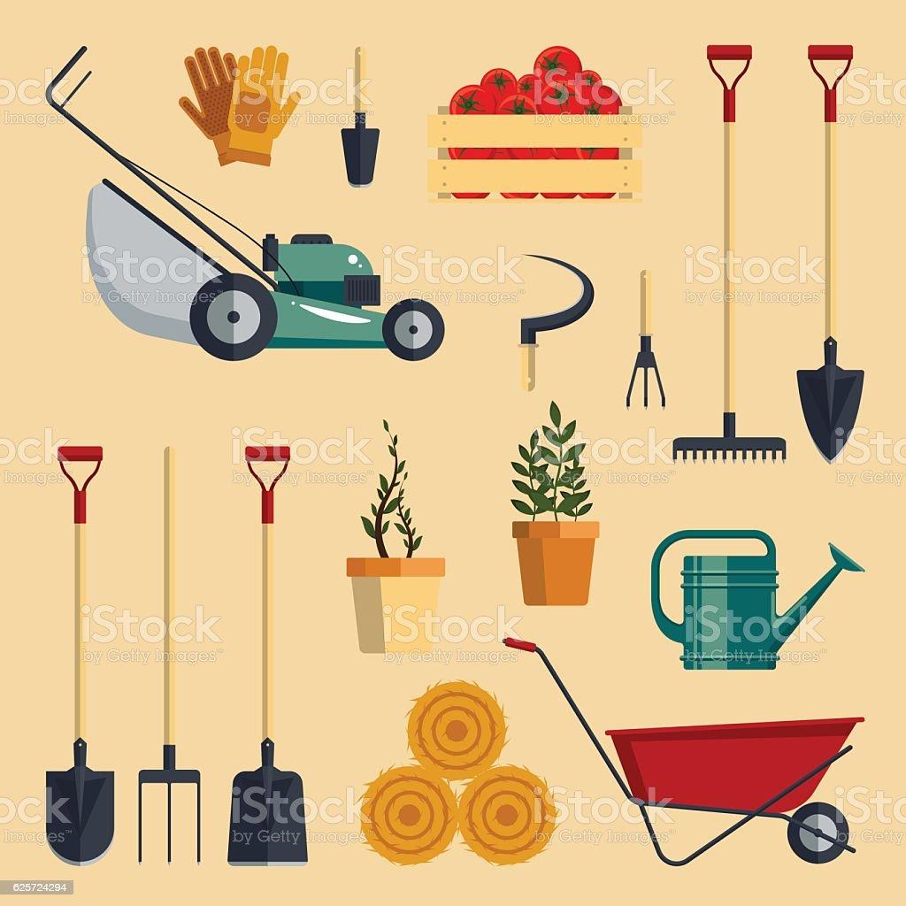 Set farm tools flat-vector illustration. Garden instruments icon collection vector art illustration
