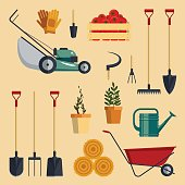 Set farm tools flat-vector illustration. Garden instruments icon collection
