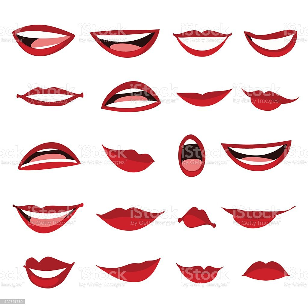 Set female lips isolated on a white background. vector art illustration
