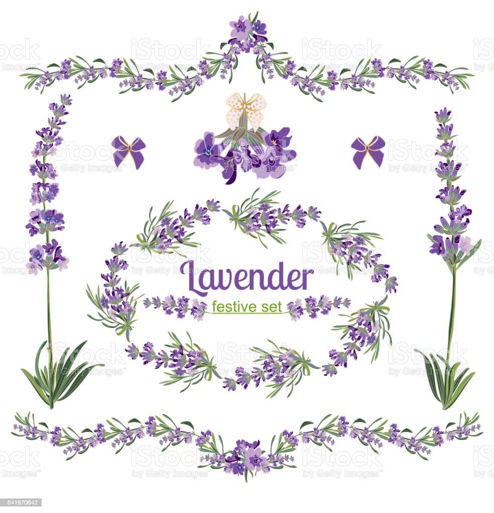 Set festive frames and elements with Lavender flowers vector art illustration