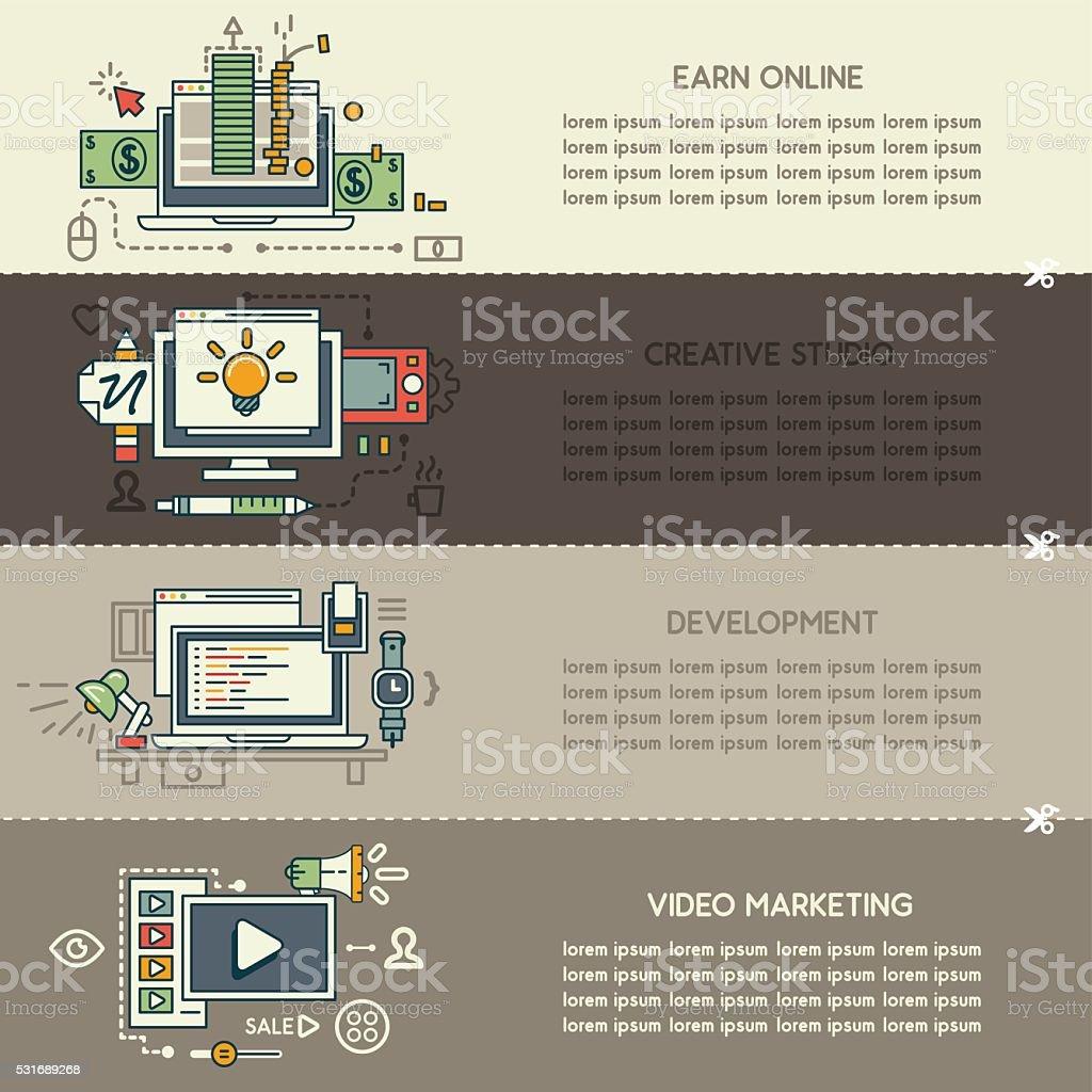 Set fifteen of internet technology banners vector art illustration