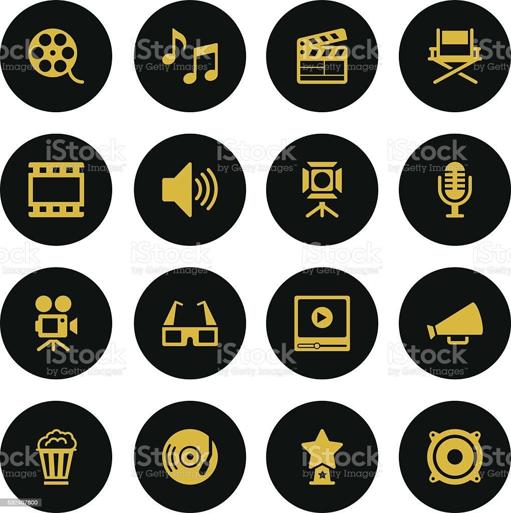 Set Film Industry Icons-Gold Series vector art illustration