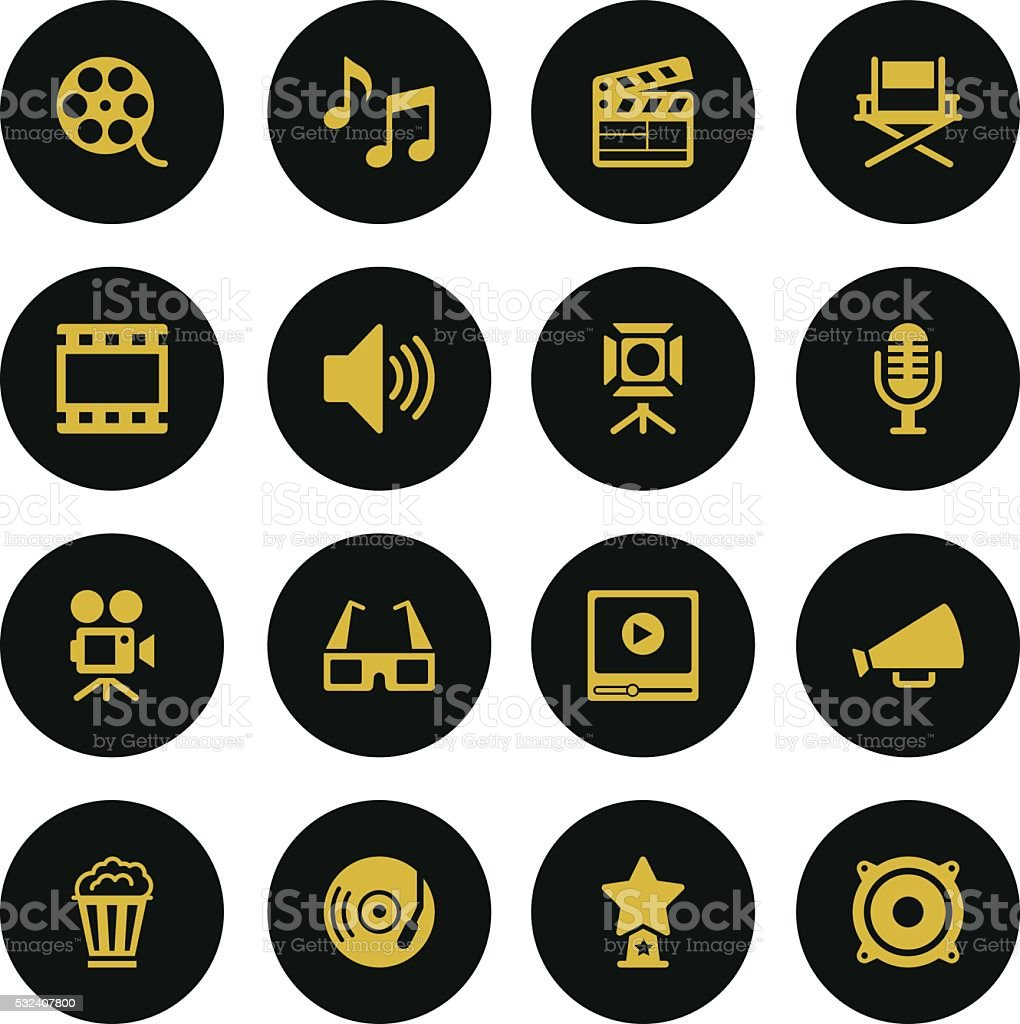 Set Film Industry Icons-Gold Series vector art illustration