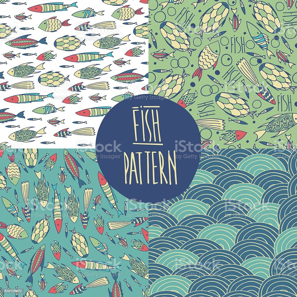 Set fish pattern vector art illustration