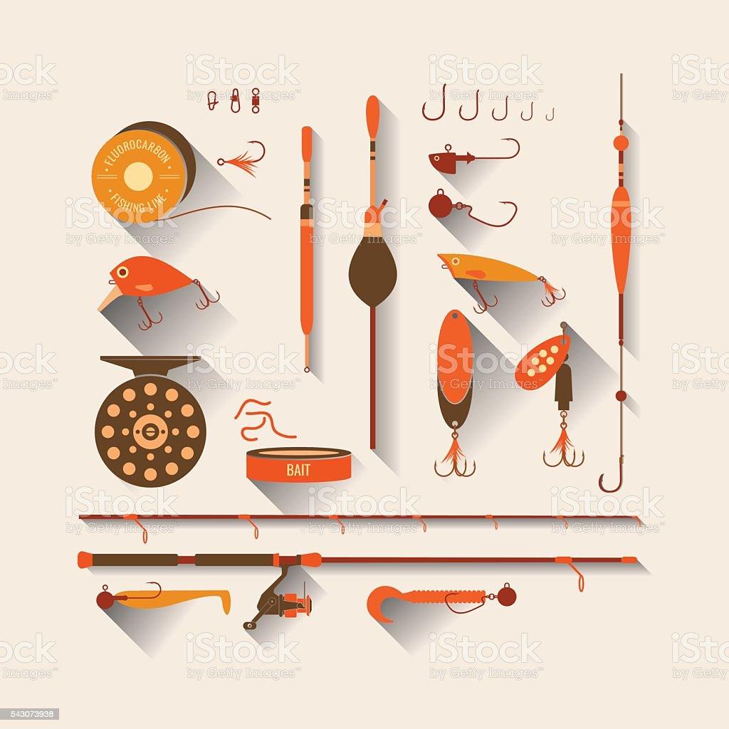 Set. Fishing tackle. vector art illustration