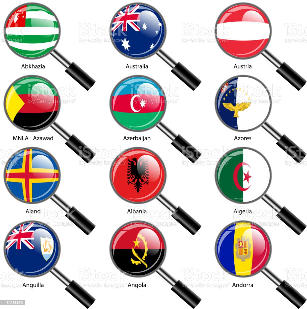 Set  Flags of world sovereign states magnifying glass. vector art illustration