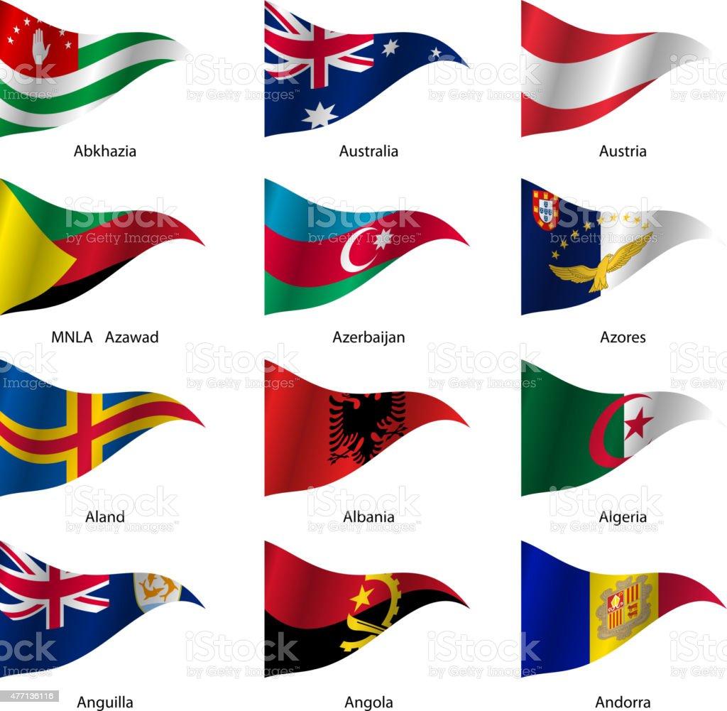 Set  Flags of world sovereign states vector art illustration