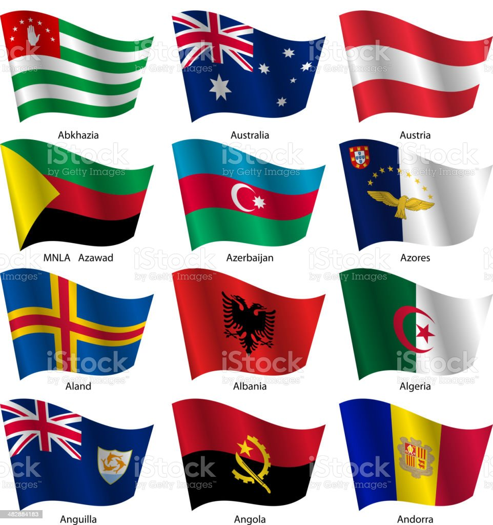 Set  Flags of world sovereign states. vector art illustration